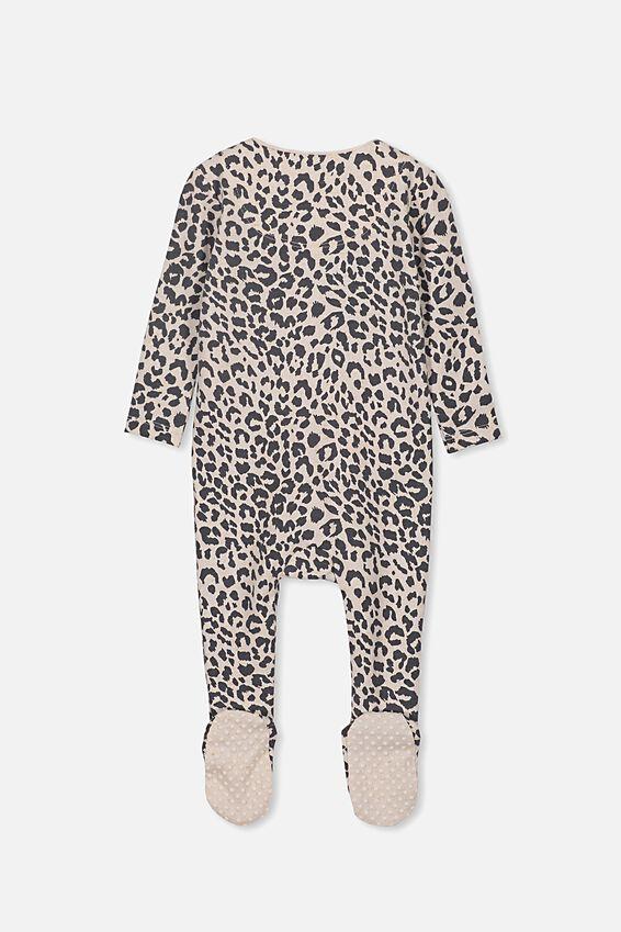 The Snug Long Sleeve Zip Romper, CARAMEL MARLE/SUMMER OCELOT