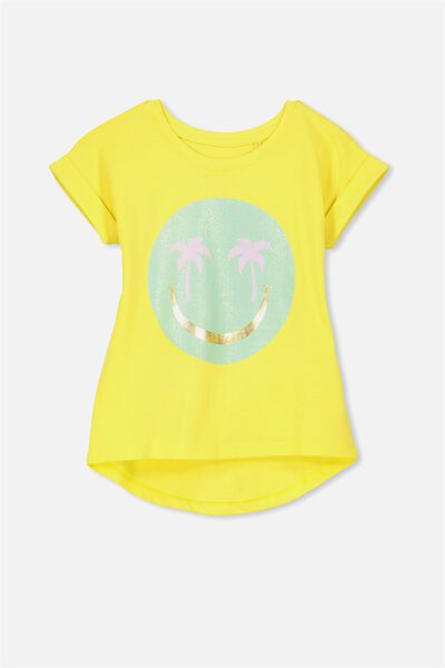 Penelope Short Sleeve Roll Up Tee, LEMON ZEST/PALM TREE FACE