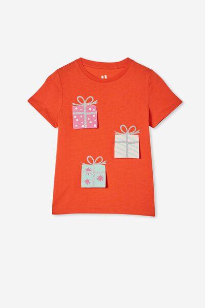 Stevie Short Sleeve Embellished Tee, RED ORANGE/ XMAS SURPRISE