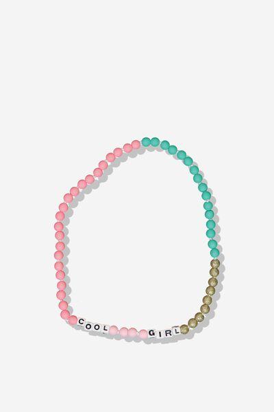 Mixed Beaded Necklace, FUSHIA PINK/SLOGAN