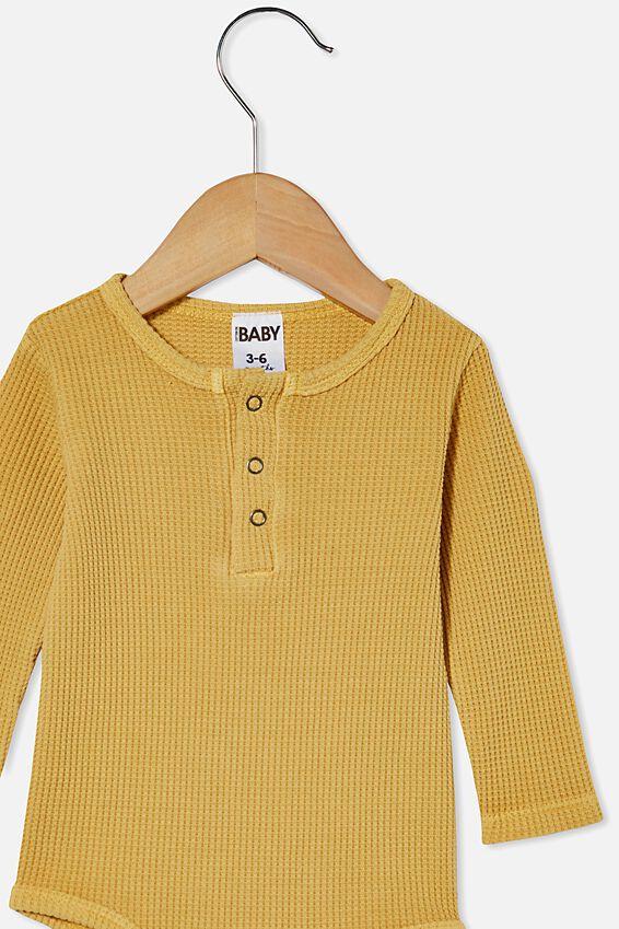 The Long Sleeve Waffle Bubbysuit, VINTAGE HONEY