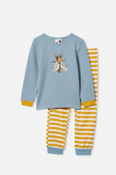 Noah Long Sleeve Pyjama Set, BUZZ OFF/RAIN CLOUD