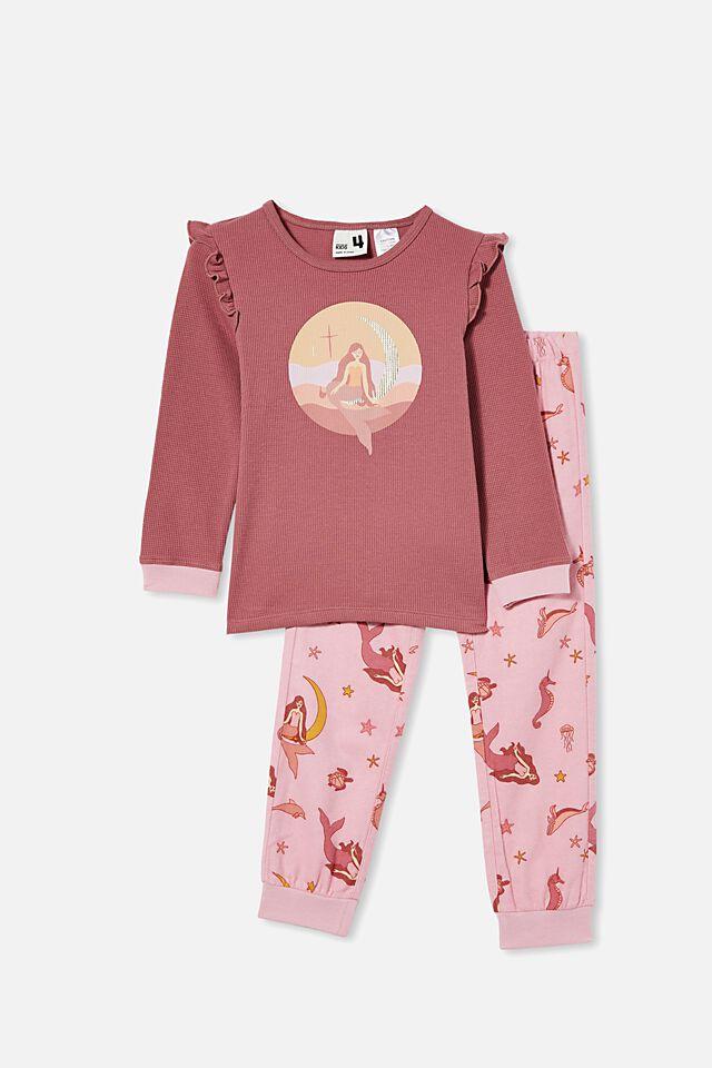 Edith Long Sleeve Pyjama Set, MERMAID OCEAN / VERY BERRY