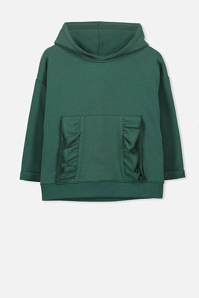 Scarlett Fleece Hoodie Ruffle Pocket, POSSY GREEN