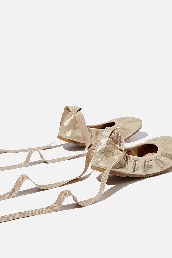 Kids Primo Ballet Flat, MATTE GOLD SHIMMER TIE UP