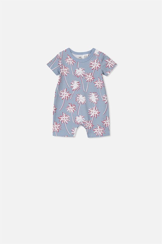 The Short Sleeve Romper, DUSTY BLUE TROPCAL PALMS
