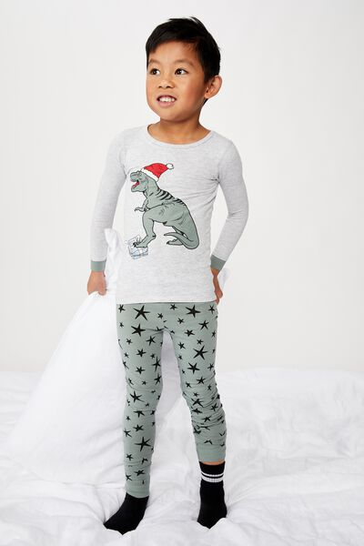 Harrison Long Sleeve Boys Pyjamas, XMAS DINO