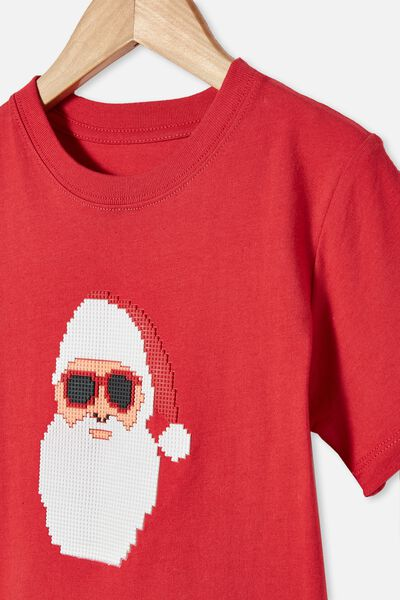 Downtown Short Sleeve Tee, LUCKY RED / SANTA