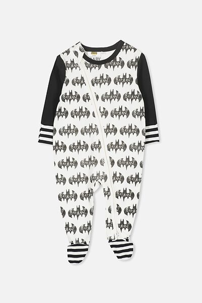 License Zip Through Romper, VANILLA/BATMAN