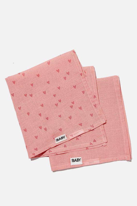 2Pk Organic Muslin Facewasher, MUSK ROSE/SCATTERED HEARTS