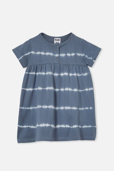 Kendall Short Sleeve Dress, STEEL LINEAR TIE DYE