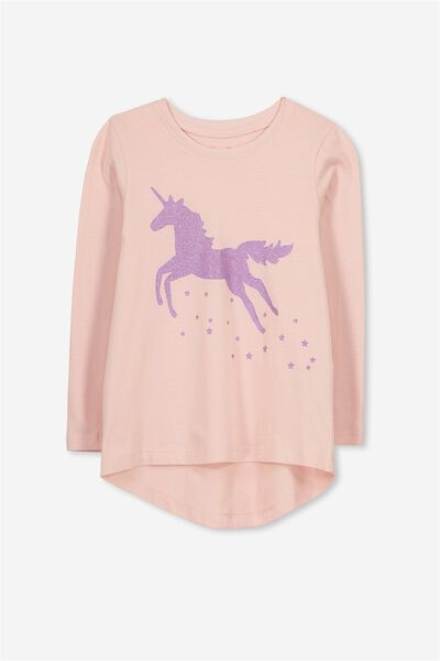 Penelope Long Sleeve Curved Hem, SILVER PINK/LEAPING UNICORN