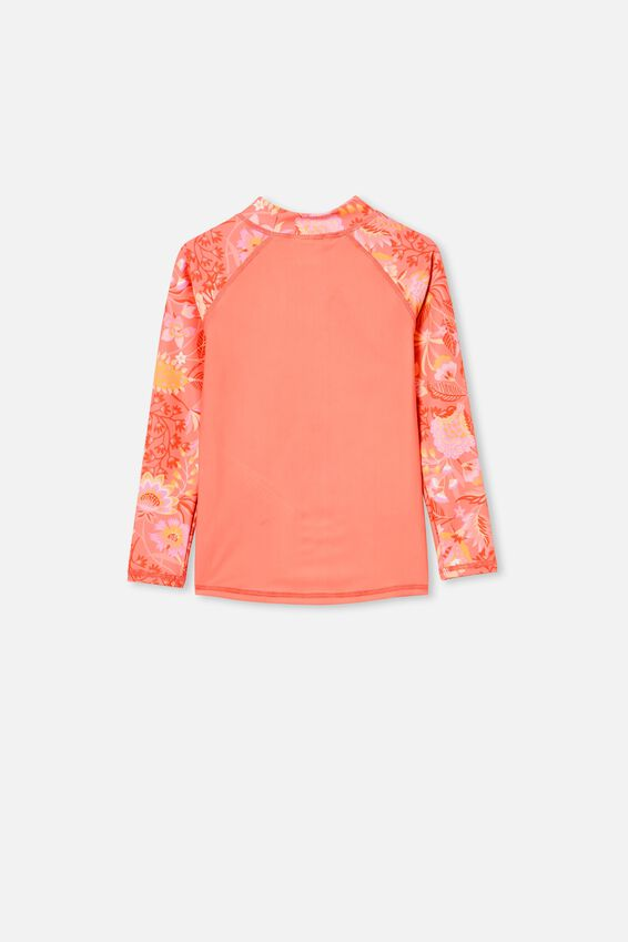 Hamilton Long Sleeve Rashie, RETRO CORAL FOLK FLORAL/COCKATOO
