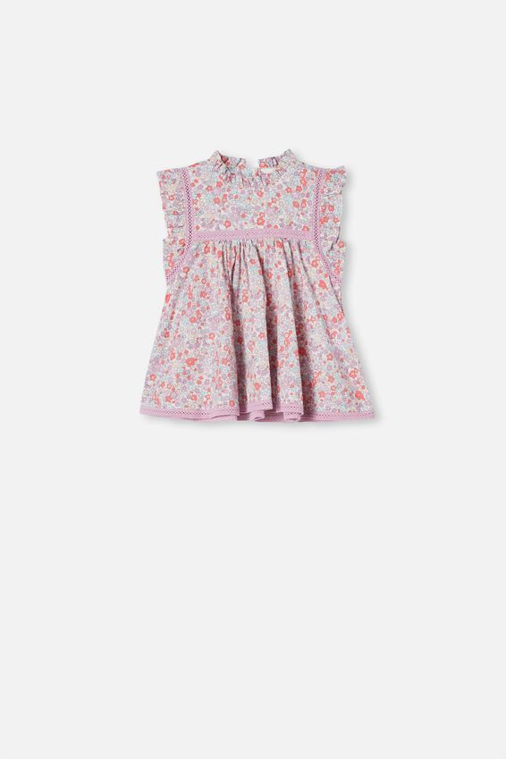 Tess Flutter Sleeve Dress, VANILLA/GARDEN FLORAL