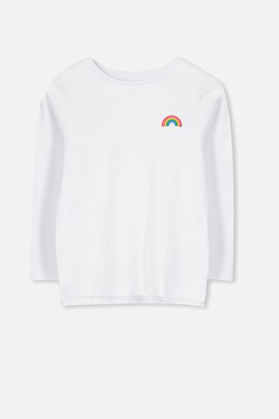 Penelope Long Sleeve Tee, WHITE/RAINBOW BADGE/SET IN
