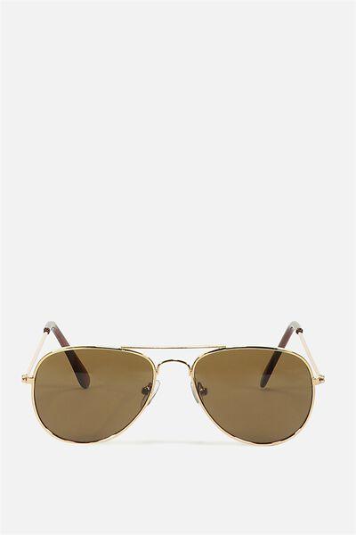 Pilot Sunglasses, GOLD/SMOKEY 2