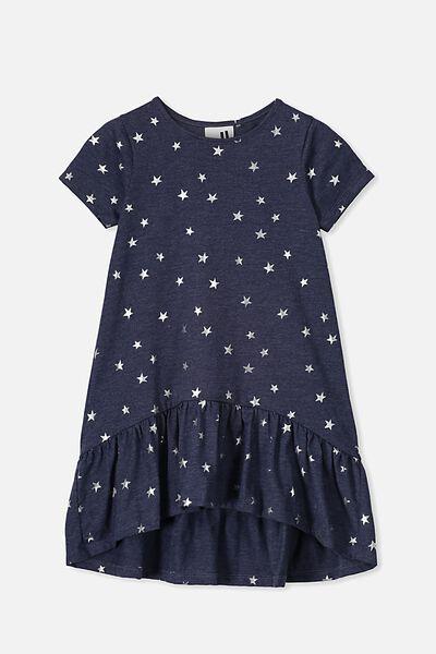 Joss Short Sleeve Dress, NAVY MARLE/STARS