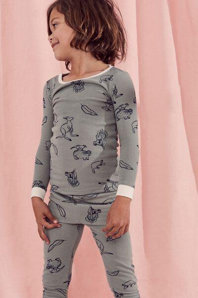 Tom Boys Long Sleeve Waffle Pajama Set, SILVER SAGE/B AUSTRALIANA