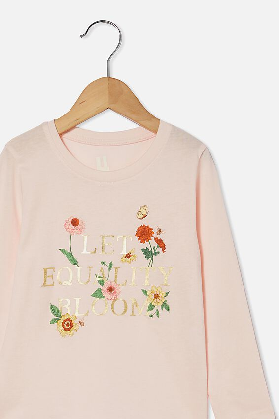 Penelope Long Sleeve Tee, CRYSTAL PINK/LET EQUALITY BLOOM