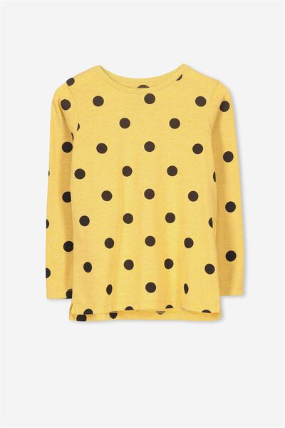 Penelope Long Sleeve Tee, MINERAL YELLOW/SPOT/SET IN