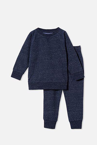 Zayne Long Sleeve Pyjama Set, SPACE DYE/NAVY BLAZER