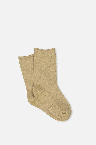 Fashion Kooky Socks, GOLD LUREX