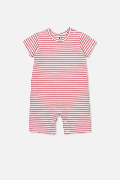 The Short Sleeve Romper, CHRIS STRIPE RUSTY BLUSH/WHITE