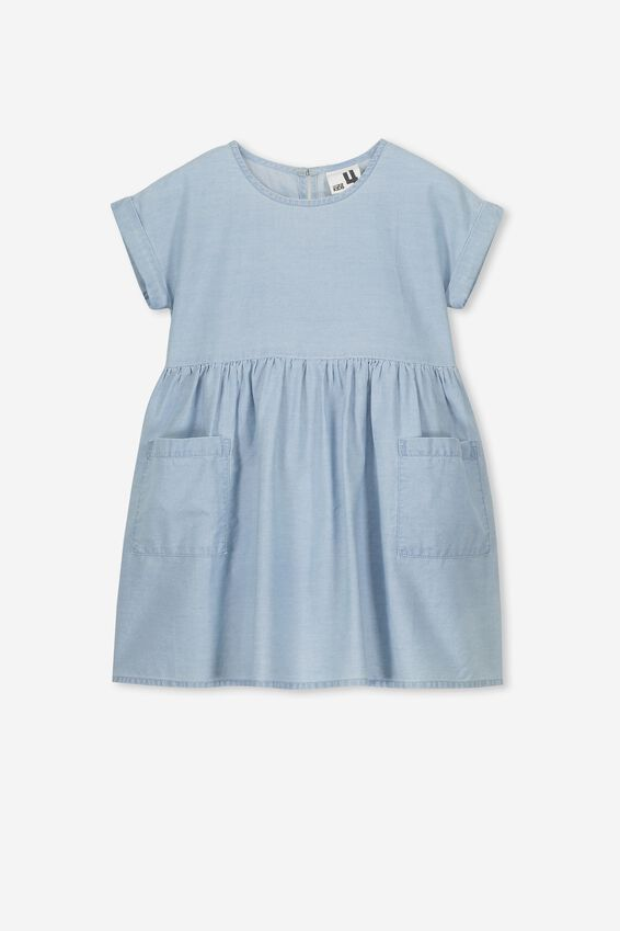 Malia Short Sleeve Dress, LIGHT WASH