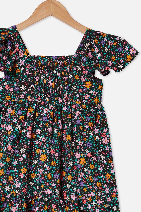 Cady Short Sleeve Dress, PHANTOM/SPRINKLED DITSY