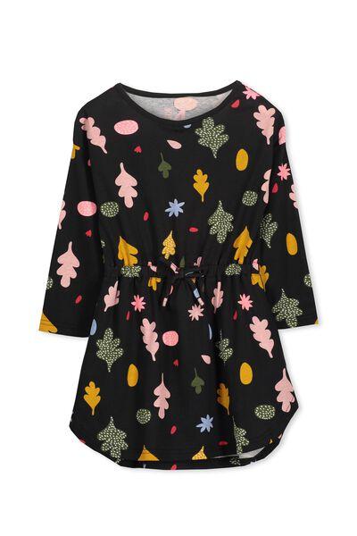 Eloise Long Sleeve Dress, PHANTOM/WOODLANDS FLORAL