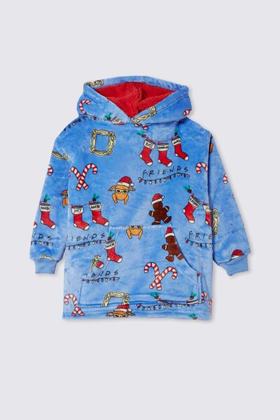 Snugget Kids Oversized Hoodie Licensed Northern, LCN WB FRIENDS MERRY CHRISTMAS DUSK BLUE