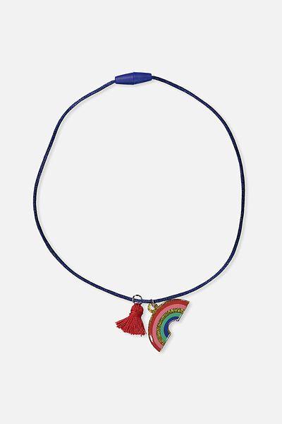 Fashion Pendant Necklace, RAINBOW/POM POM