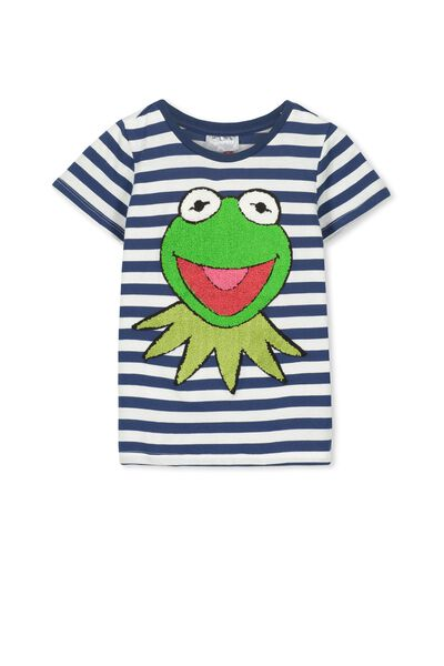 Kermit Short Sleeve Tee, CAPTAIN BLUE STRIPE/KERMIT