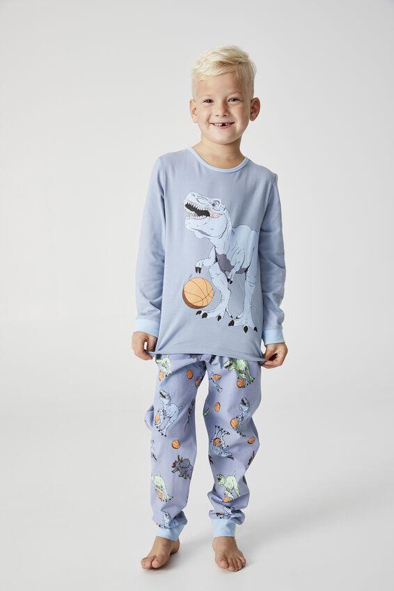 Orlando Long Sleeve Pyjama Set, DINO BASKETBALLER DUSTY BLUE
