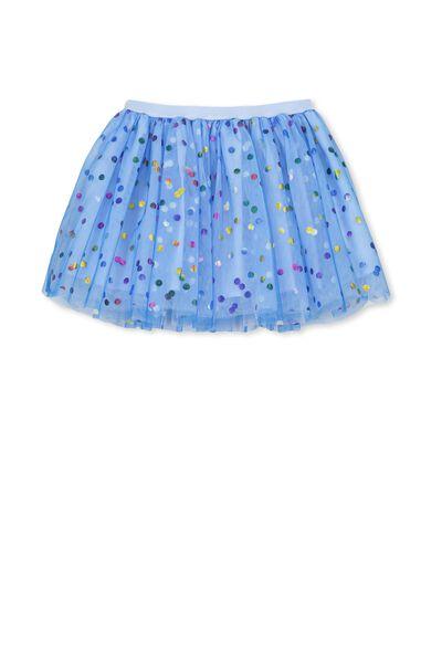 Trixiebelle Tulle Skirt, CERULEAN BLUE/RAINBOW DOT