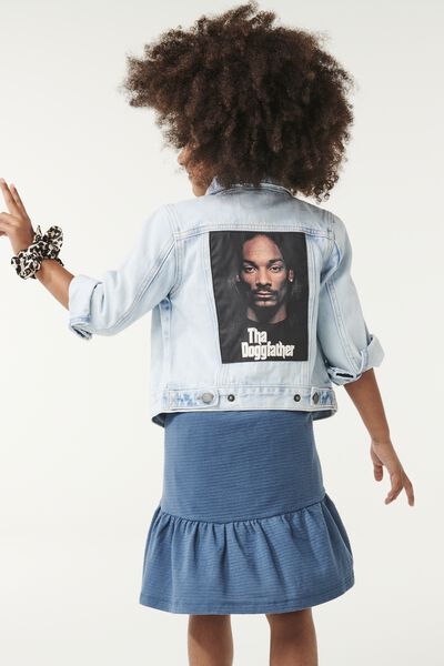 License Denim Jacket, LCN MT MID BLUE WASH/SNOOP DOG