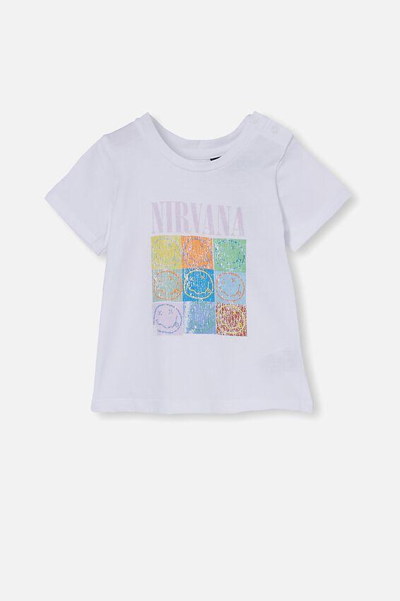 Nirvana Jamie Short Sleeve Tee, LCN LN WHITE/NIRVANA SMILEYS