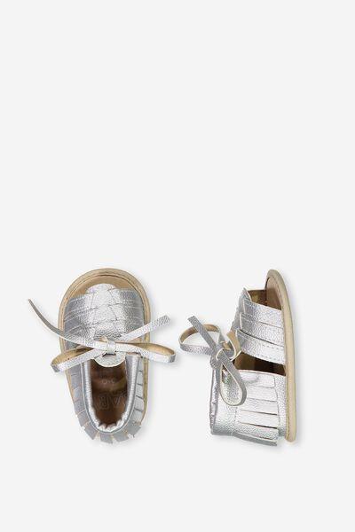Maya Mini Fringe Sandal, SILVER
