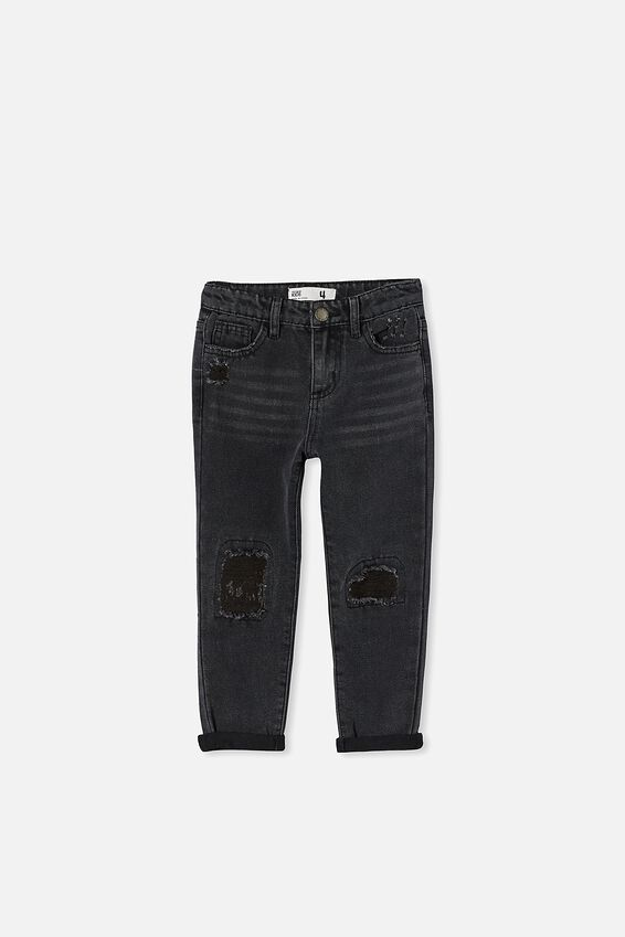 India Slouch Jean, BLACK WASH/RIPS
