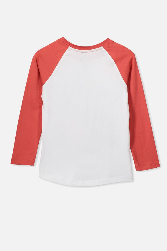 Tom Long Sleeve Raglan Tee, WHITE/TOMATO MOUNTAIN EXPRESS