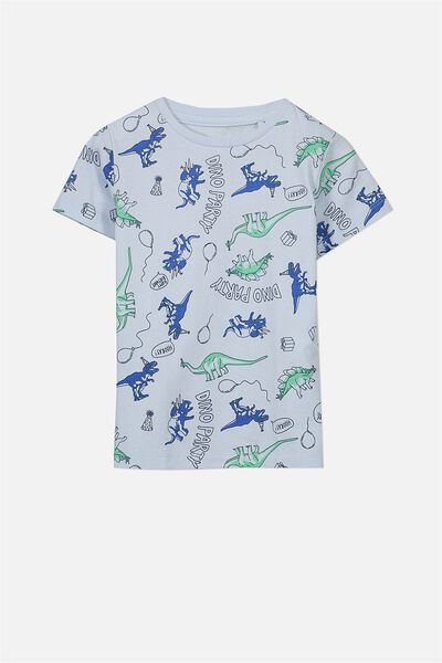 Max Short Sleeve Tee, ARCTIC BLUE/DINO PARTY SIS