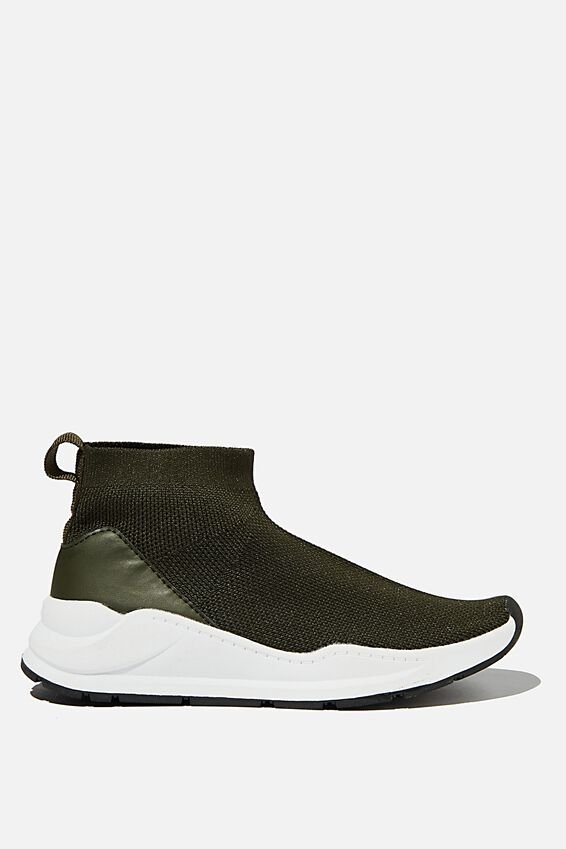 Knitted Trainer, BEATLE GREEN