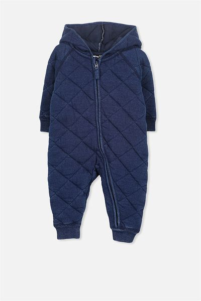 Mini Quilted Romper, INDIGO WASH