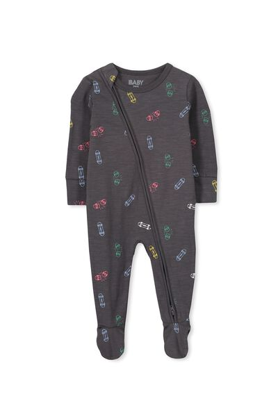 Sleep Mini Zip All In One Jumpsuit, GRAPHITE GREY/COLOURFUL SKATEBOARDS