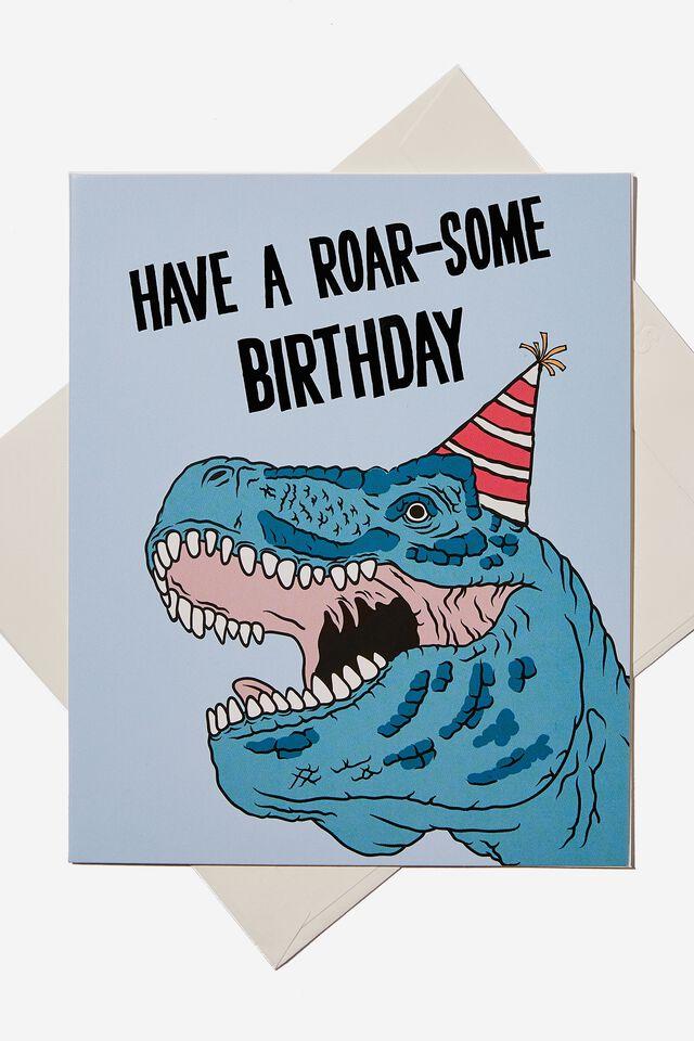 Birthday Gift Card, FROSTY BLUE DINO
