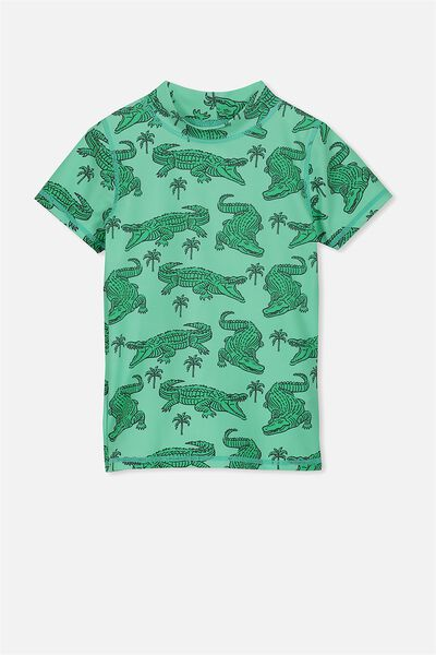 Finley Short Sleeve Rash Vest, GREEN/CROCS