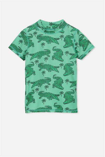 Finley Short Sleeve Rash Vest, GREEN/CROCS