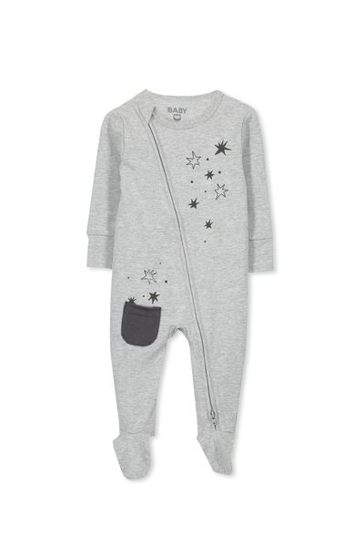 Sleep Mini Zip All In One Jumpsuit, LIGHT GREY MARLE/STARS