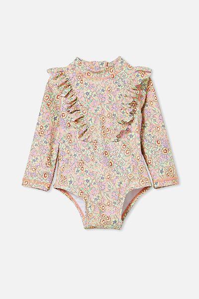 Tori Long Sleeve Swimsuit, MUSK MELON/VINTAGE FLORAL