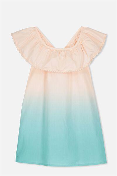 Apple Dress, SHELL PEACH/TURQUOISE DIP DYE